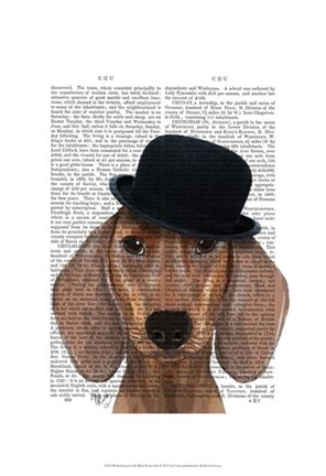 Dachshund with Black Bowler Hat Fine Art Print by Fab Funky at ... 023e4e0fc068