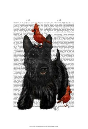 Framed Scottish Terrier and Birds Print