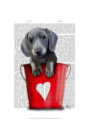 Framed Buckets of Love Dachshund Puppy Print