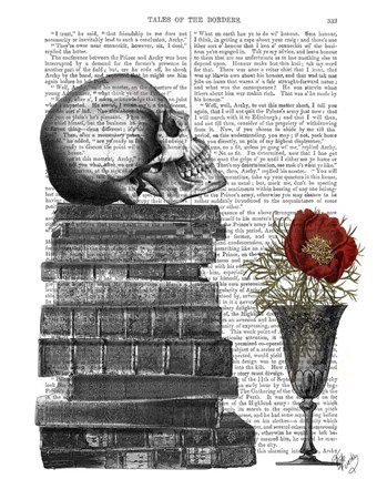 Framed Skull And Books Print