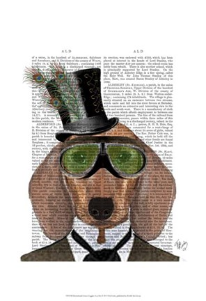 Framed Dachshund Green Goggles Top Hat Print