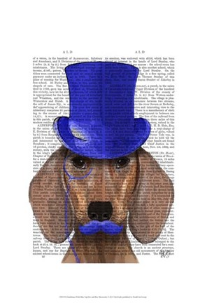 Framed Dachshund With Blue Top Hat and Blue Moustache Print