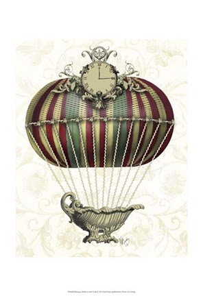 Framed Baroque Balloon with Clock Print