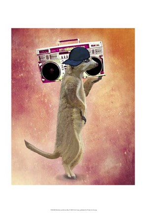 Framed Meerkat and Boom Box Print