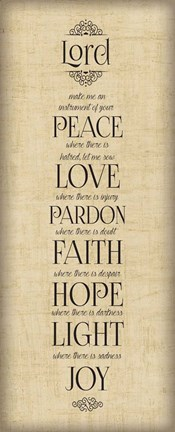 Framed Bible Verse Panel IV (Instrument of Peace) Print