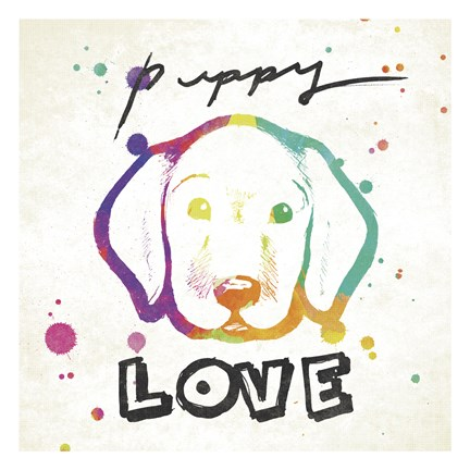 Framed Puppy Love Rainbow Print