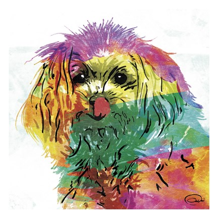 Framed Wet Nose Rainbow Print