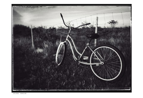 Framed Bike BW With Border Print