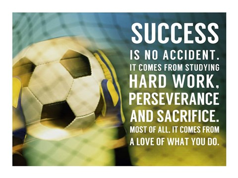 Framed Success Soccer Quote Print