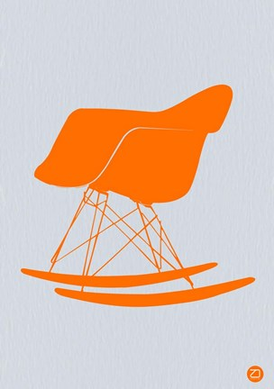 Framed Orange Eames Rocking Chair Print
