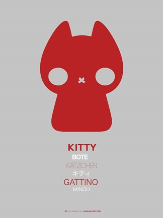 Framed Red Kitty Multilingual Print