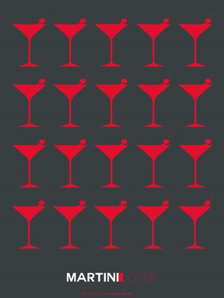 Framed Martini Lover Red & Grey Print