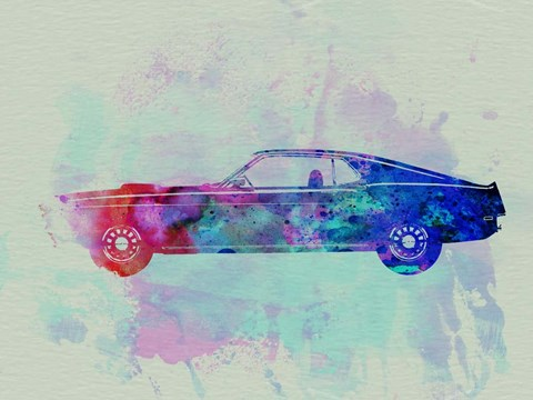 Framed Ford Mustang Watercolor 1 Print