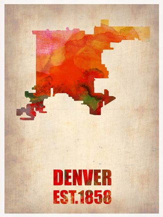 Framed Denver Watercolor Map Print