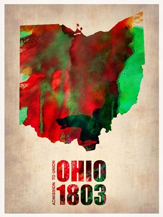 Framed Ohio Watercolor Map Print