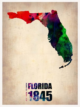 Framed Florida Watercolor Map Print