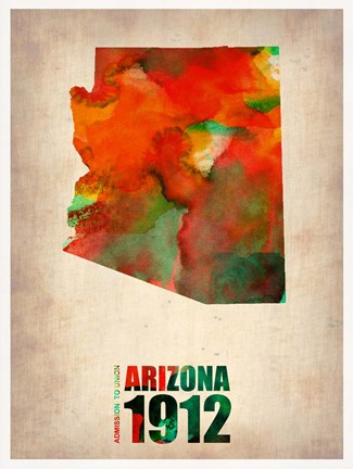 Framed Arizona Watercolor Map Print