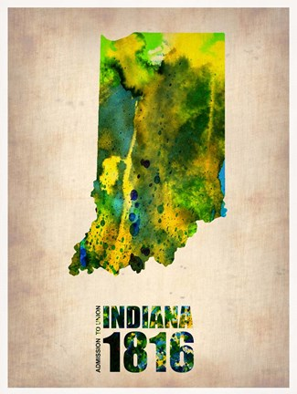 Framed Indiana Watercolor Map Print