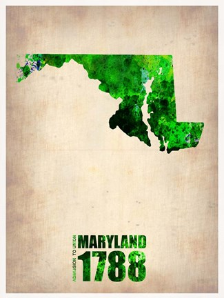 Framed Maryland Watercolor Map Print