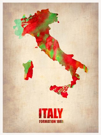 Framed Italy Watercolor Map Print