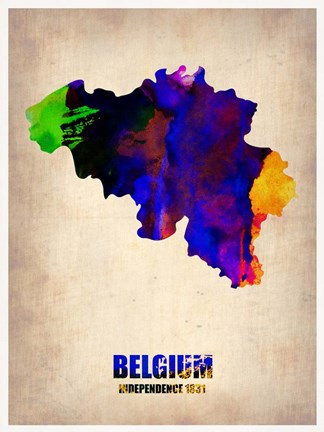 Framed Belgium Watercolor Map Print