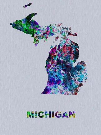 Framed Michigan Color Splatter Map Print