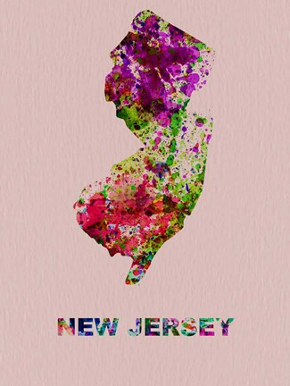 Framed New Jersey Color Splatter Map Print