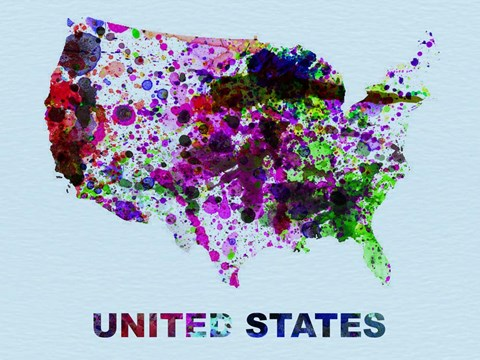 Framed United States Color Splatter Map Print