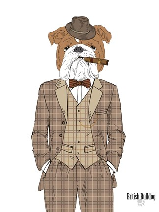 Framed British Bulldog In Tweed Suit Print
