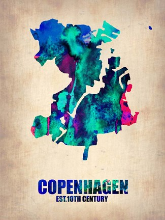 Framed Copenhagen Watercolor Print