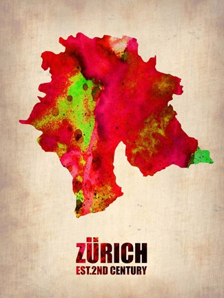 Framed Zurich Watercolor Print