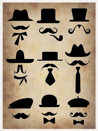 Framed Hats Glasses and Mustaches Print