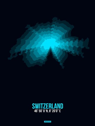 Framed Switzerland Radiant Map 2 Print
