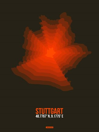 Framed Stuttgart Radiant Map 2 Print
