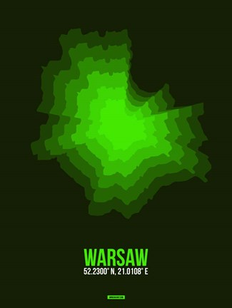 Framed Warsaw Radiant Map 2 Print