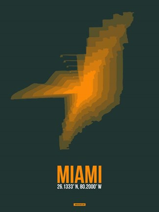 Framed Miami Radiant Map 4 Print