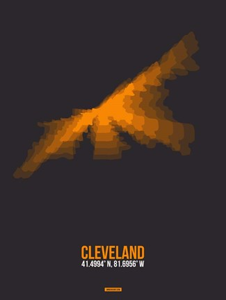 Framed Cleveland Radiant Map 3 Print