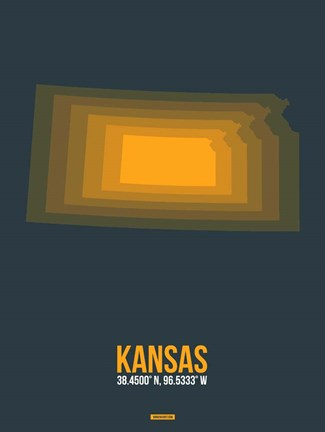 Framed Kansas Radiant Map 4 Print