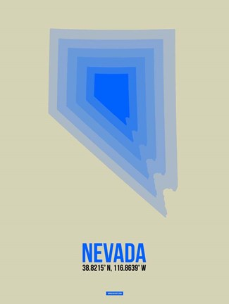 Framed Nevada Radiant Map 2 Print