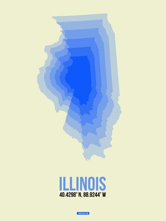 Framed Illinois Radiant Map 1 Print