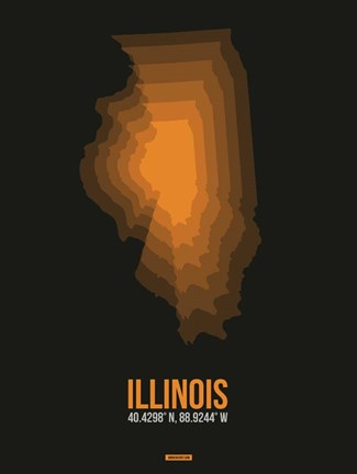Framed Illinois Radiant Map 5 Print