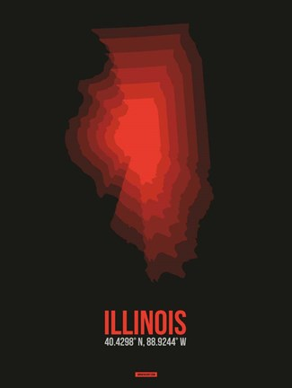 Framed Illinois Radiant Map 6 Print