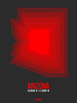 Framed Arizona Radiant Map 4B Print