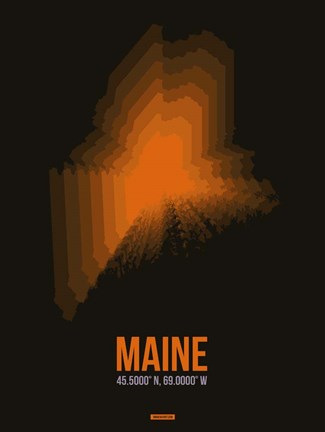 Framed Maine Radiant Map 5 Print