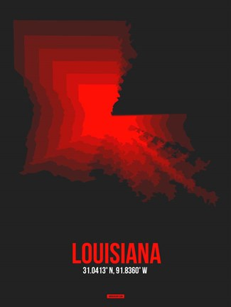 Framed Louisiana Radiant Map 4 Print