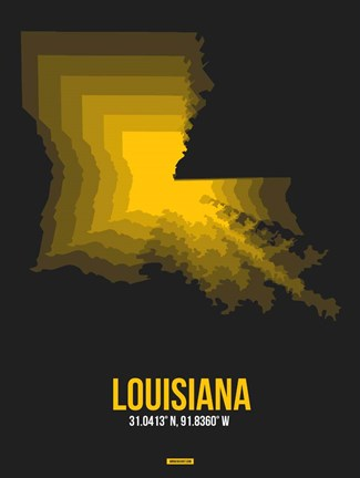 Framed Louisiana Radiant Map 5 Print