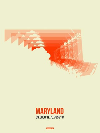 Framed Maryland Radiant Map 3 Print