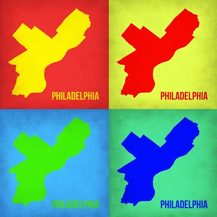 Framed Philadelphia Pop Art Map 1 Print
