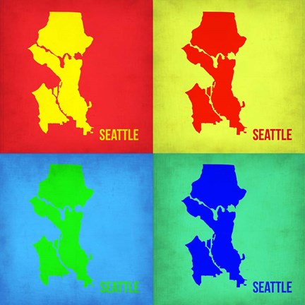 Framed Seattle Pop Art Map 1 Print
