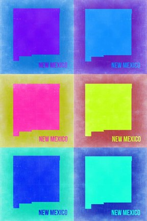 Framed New Mexico Pop Art Map 2 Print